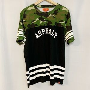 Asphalt Yacht Club black camouflage graphic shirt